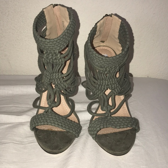 4ee3fea3d8d Olive rope braid heels size 8 suede